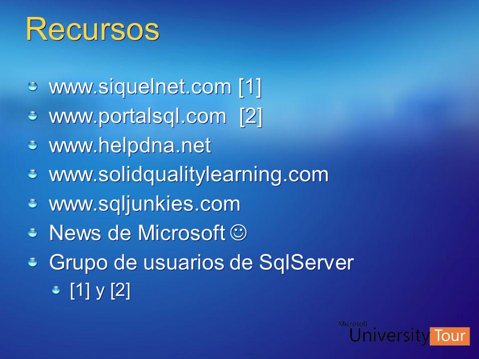 Recursos www.siquelnet.com [1] www.portalsql.com [2] www.helpdna.net